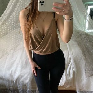 Charlotte Russe Faux Suede Tan Tank Top Small